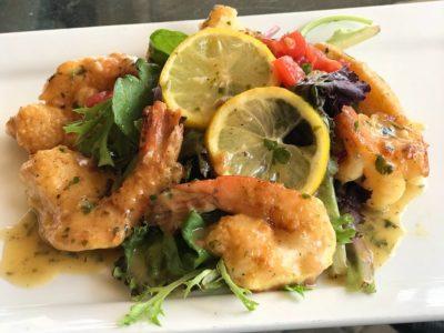 Shrimp-francaise-over-mesclun-greens