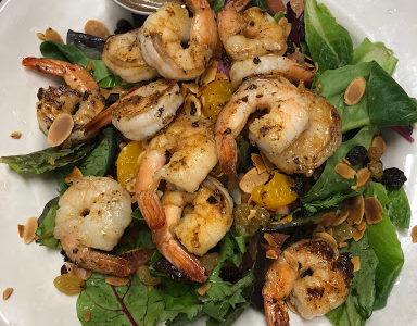 Grilled Shrimp over House Salad