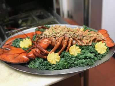 Baked stuffed maine lobster