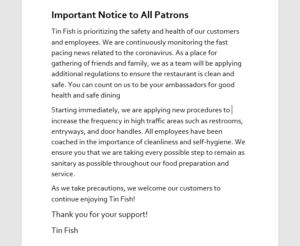 Important Notice to All Patrons